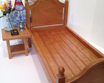 Doll bed for  18in American Girl Doll: oak stained