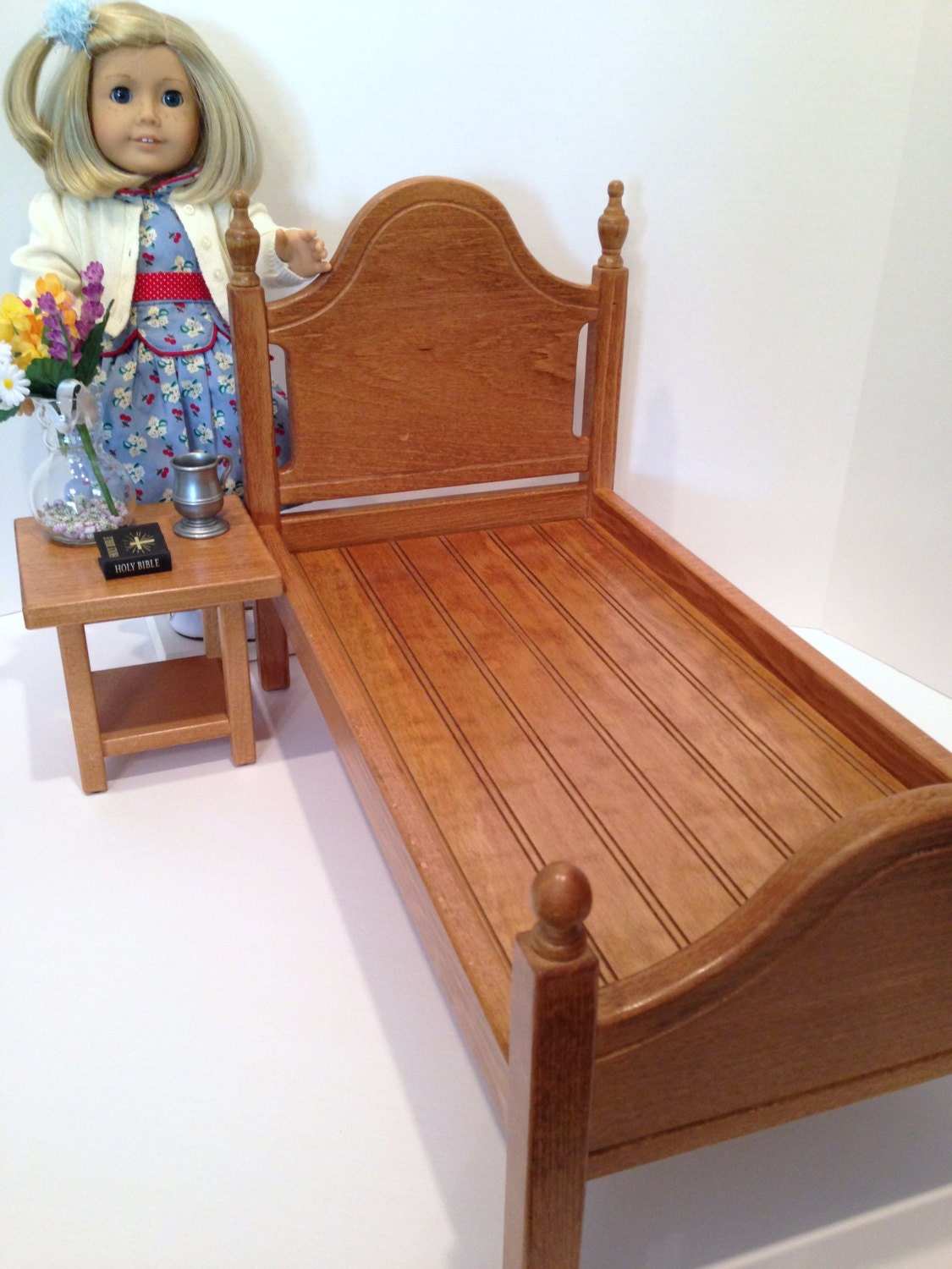 Marvelous photograph of Doll bed for 18in American Girl Doll: oak by BedsandThreads with #456086 color and 1125x1500 pixels