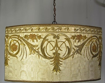 Lamp Shade Chandelier Hanging Pendant Large Light 1930s Custom Antique Embroidered Metallic Fabric