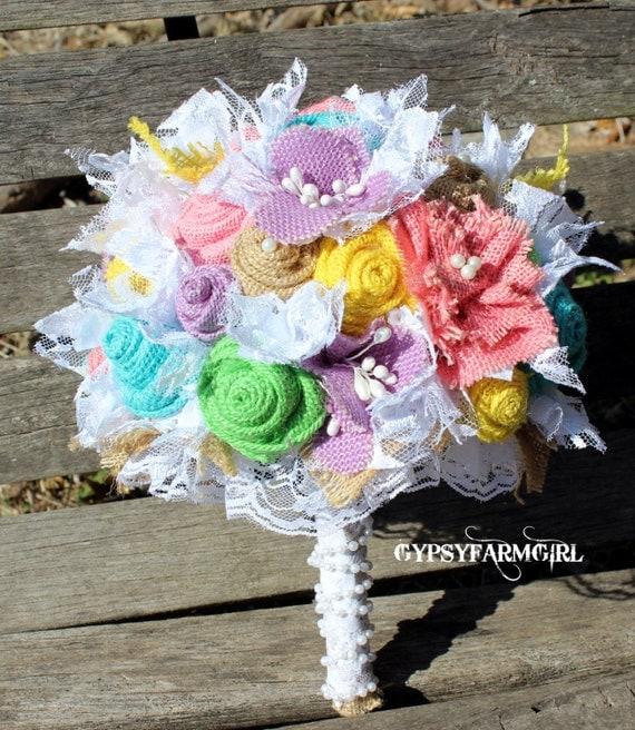 pastel spring burlap flower bridal bouquet