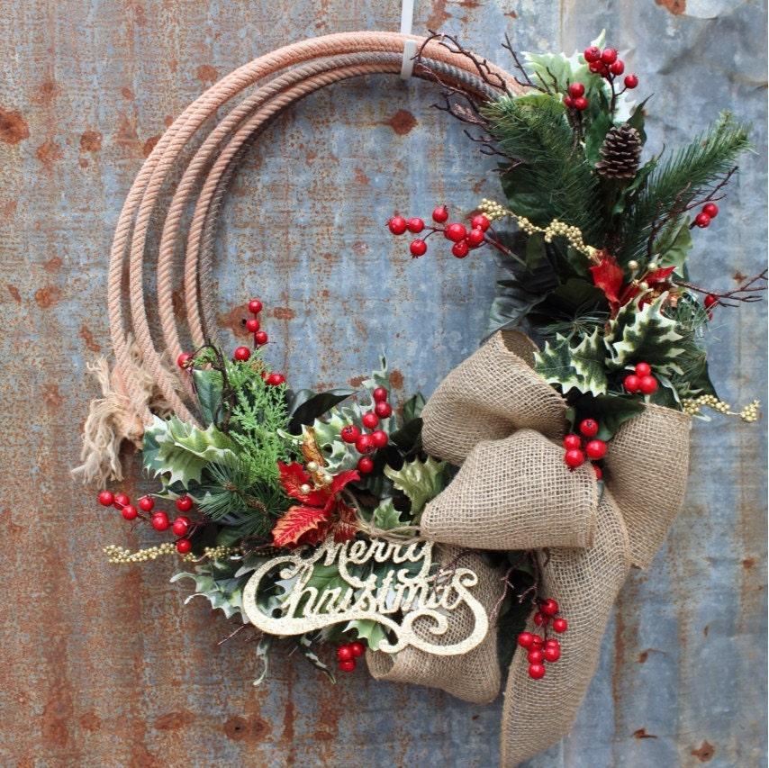 Western Lariat Rope Christmas Wreath Rustic Cowboy Christmas