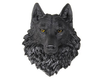 Black Wolf Head Wall Mount with Natural Looking Eyes - Faux Taxidermy W1700