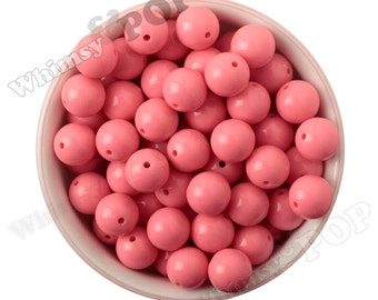 16mm - Flamingo Pink Gumball Beads, Chunky Gumball Beads, 16mm Gumball Beads, 16mm Chunky Beads, 16mm Beads, Bubblegum Beads, 2mm Hole