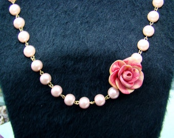 Asymmetrical Clay Rose and Pearl Necklace, Pink Pearl and Hand Sculpted Rose Necklace, Wedding Necklace, Brides Maids, Request Other Colors
