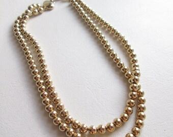 Vintage Kramer Double Strand Gold Tone Necklace