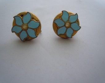 Vintage Pair Button Enamel Blue Flower Screw Back Earrings Crystal