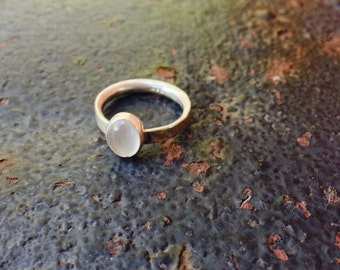 Oval Rainbow Moonstone Bezel Setting Comfort Fit Band Sterling Silver Ring Size 6