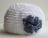 Handmade Woman's White Hat with Blue Cashmere Flower, Cashmere, Fashion Hat, Female Hat, Size Adult/Youth Small, FREE SHIPPING