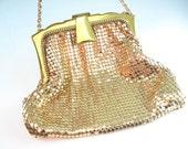 Whiting & Davis Mesh Purse Gold Mesh Glomesh Evening Bag Art Deco Style Wedding Accessory