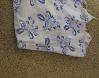 Fabric CLEARANCE - cotton blue and white print OLD 1940s vintage  fabric as shown . 3 feet x 18 inches