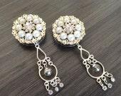 "Bridal Plugs 1 inch Dangle Plugs 25mm Chandelier Rhinestone and Pearl Wedding Gauges 28mm 1 1/8"" Wedding Plugs Gauged Earrings"