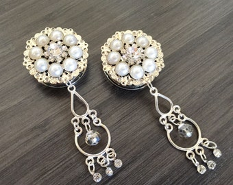 "Bridal Plugs 1 inch Dangle Plugs 25mm Chandelier Rhinestone and Pearl Wedding Gauges 28mm 1 1/8"" Wedding Plugs Gauged Earrings"