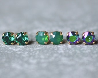 Emerald Bridesmaid Earrings Green Gold Bridal Studs Swarovski Crystal Studs Green Opal Mist Set of Three Earrings Emerald Wedding Bride Love