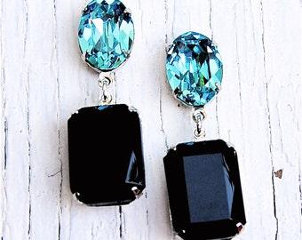 Turquoise Black Swarovski Crystal Vintage Rhinestone Dangle Earrings Vintage Glass Black Post Earrings Fiesta Mashugana