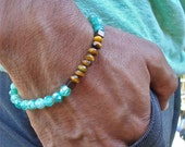 Men's Spiritual Protection and Healing Bracelet with Semi Precious Green Fire Agates, Faceted Tiger's Eye, Hematites - Minimalist Bracelet