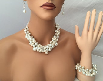 3 piece set in ivory and white pearls with crystals and rhinestones- bridesmaid jewelry - chunky pearl