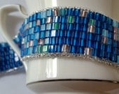 Blue cube beadweaving handmade bracelet, ocean blue, pops of color, tropical sea blue, mermaid's favor collection