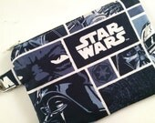 Star Wars Small Zippered Pouch, Boy Gift, Boy Stocking Stuffer, Knitting Notions Case, Coin Purse, Wallet, iPod Case