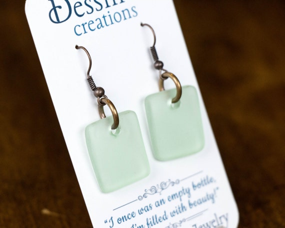 Sea Glass Earrings, made from a Recycled Cola Bottle, Antique Glass, Copper Earrings, Dessin Creations