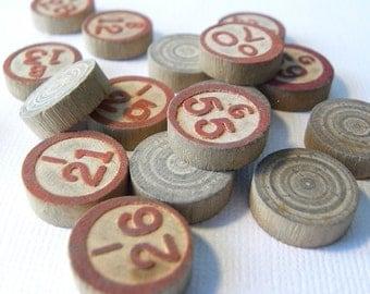 Vintage wood bingo markers