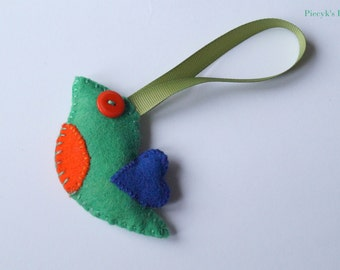 Felt Bird - Felt Ornament - Home Decor - Green Felt Bird Ornament OOAK