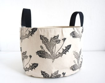 Oval Fabric Basket Dandelions in Black Organic Cotton