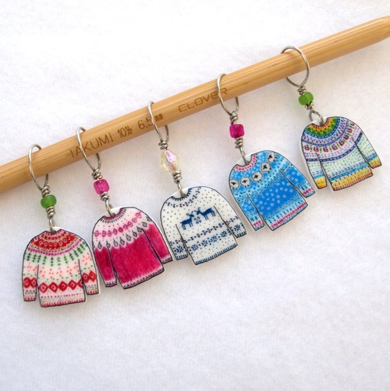 Knitting Gifts For Knitters : Colorful sweater knitter stitch markers snag by