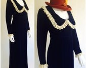 70s Velvet Dolly Dress Lace Collar + Cuffs Deep Royal Blue