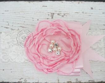 Baby headbands, Pink Headband ,Newborn Headband, Girls Headband, Shabby Chic Vintage Headband, Baby girl Headband