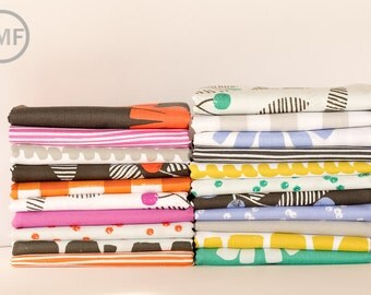 Fat Quarter Bundle Follie Full Collection, 21 Pieces, Lotta Jansdotter, Windham Fabrics, 100% Cotton Fabric