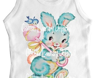SALE - tee shirt, tank or infant one piece Vintage inspired childrens tshirt Girls Easter Bunny and Birdie on rattle..Ooak