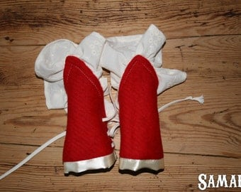 Red Wool Cuffs with cotton ruffle (Larp, Reenactment, fantasy events, COSplay, ren faire) - <READY TO SHIP>