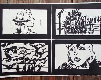 The Birds Alfred Hitchcock Hand Pulled Linocut Block Print