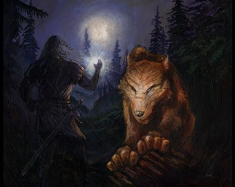 Original Acrylic Painting - Beren Faces Carcharoth - Silmarillion Painting