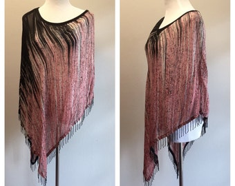 Cool Poncho Cape Flowy Silky Shawl Blouse with Beaded Detail by Kaktus in Dusty Rose and Black