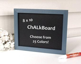 Framed Chalkboard Organizer Sign Menu Board - 8 x 10 Eco-Friendly Magnetic Blackboard for the Fridge or Desktop in Slate Blue Pick Color