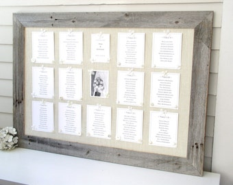 Barnwood WEDDING SEATING CHART - Rustic Farmhouse Deluxe Escort Card Display Package - Reception Magnets and Printed Escort Cards Included