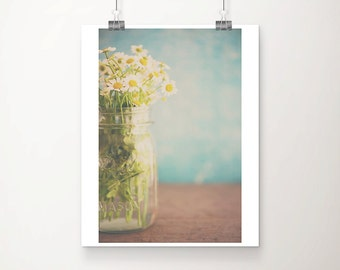 daisy photograph still life photography white flower photograph floral print daisy print teal home decor shabby chic decor