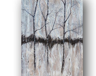 Textured Tree Painting, Aspen Tree, Birch Tree, Black White Painting, Original Painting on Canvas, Natural, Rustic Art, 36x24 Day