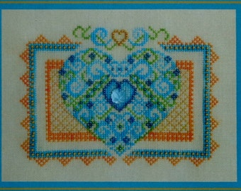 Turquoise Graphics & Designs SUMMER FLING Heart - Counted Cross Stitch Pattern Chart