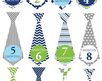 Blue ties - 018 - Blue & gray chevron baby boy monthly tie decals
