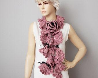 Crochet ruffle scarf  , crochet long scarf , lilacs