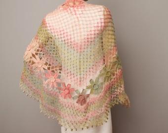 Crochet shawl scarf , crocheted shrug capelet wrap,Bridesmaid gift