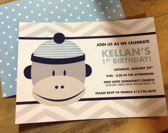 Blue Sock Monkey Birthday Invitation