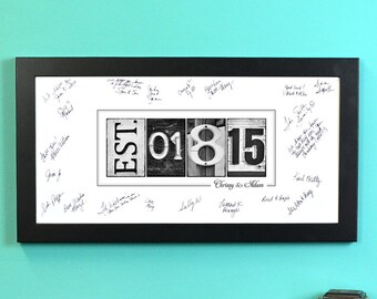 Guest Signing Print, FRAMED EST. Date print, alphabet photography, photo name art, wedding signage, guest books