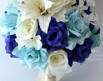 "17 Piece Package Wedding Bridal Bride Maid Honor Bridesmaid Bouquet Boutonniere Corsage Silk Flower NAVY BLUE AQUA ""Lily of Angeles"" BLIV01"