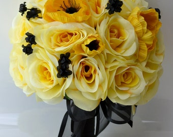 """17 Piece Package Wedding Bridal Bride Maid Of Honor Bridesmaid Bouquet Boutonniere Corsage Silk Flower BLACK YELLOW """"Lily of Angeles"""" YEBK03"""
