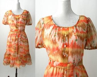 Vintage 1960 Dress, Orange 60s Dress, Boho Orange Dress, 1960 Summer Dress, Summer Chiffon Vintage Dress, Retro Orange Dress, Dolman Couture