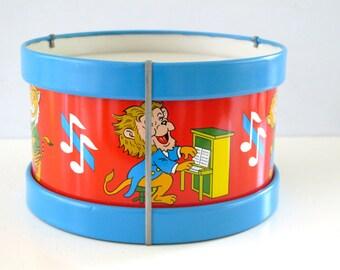 Vintage Toy Musical Animals Tin Drum Ohio Art 1950s