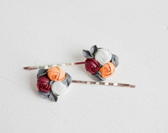 Red Orange White Floral Hair Pins Flower Wedding Hair Pins Unique Hair Pins bridal bridesmaid bridal accessory